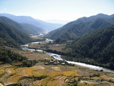 Trekking in Bhutan rice fields