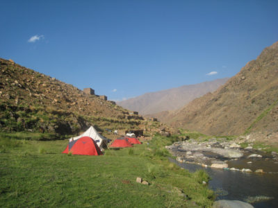 Camping at a river in the High Atlas