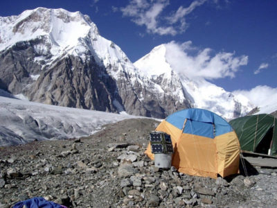 Zeltplatz am Engiltschek Gletscher